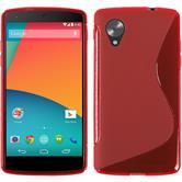 Silikon Hülle Nexus 5 S-Style rot + 2 Schutzfolien