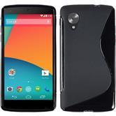 Silikon Hülle Nexus 5 S-Style schwarz + 2 Schutzfolien