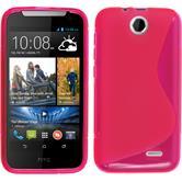 Silikon Hülle Desire 310 S-Style pink + 2 Schutzfolien