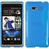 Silikon Hülle Desire 600 S-Style blau + 2 Schutzfolien
