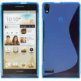 Silicone Case for Huawei Ascend P6 S-Style blue