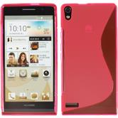 Silicone Case for Huawei Ascend P6 S-Style hot pink