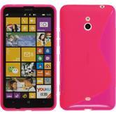 Silikon Hülle Nokia Lumia 1320 S-Style pink + 2 Schutzfolien