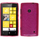 Silicone Case for Nokia Lumia 520 brushed hot pink