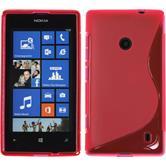 Silikon Hülle Nokia Lumia 525 S-Style pink + 2 Schutzfolien