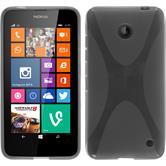 Silikon Hülle Nokia Lumia 630 X-Style grau + 2 Schutzfolien