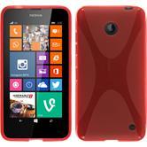 Silikon Hülle Nokia Lumia 630 X-Style rot + 2 Schutzfolien