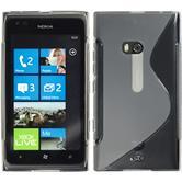 Silikon Hülle Nokia Lumia 900 S-Style grau + 2 Schutzfolien