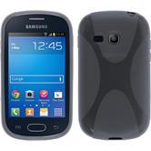 Silikon Hülle Galaxy Fame Lite X-Style grau + 2 Schutzfolien