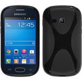Silikon Hülle Galaxy Fame Lite X-Style schwarz + 2 Schutzfolien