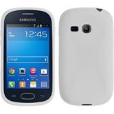 Silikon Hülle Galaxy Fame Lite X-Style weiß + 2 Schutzfolien