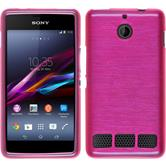 Silicone Case for Sony Xperia E1 brushed hot pink