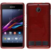 Silicone Case for Sony Xperia E1 brushed red
