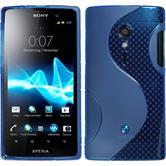 Silikon Hülle Xperia ion S-Style blau + 2 Schutzfolien