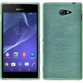 Silicone Case for Sony Xperia M2 brushed green
