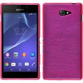 Silicone Case for Sony Xperia M2 brushed hot pink