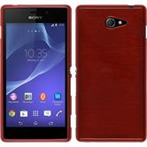 Silicone Case for Sony Xperia M2 brushed red