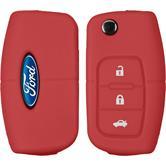 Silikon Schlüssel Hülle Ford Focus / Fusion / S-Max 3-Tasten Fernbedienung rot Klappschlüssel
