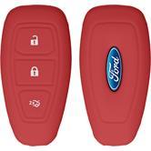 Silikon Schlüssel Hülle Ford Mondeo / Fusion 3-Tasten Fernbedienung rot Funkschlüssel