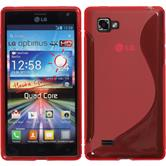 Silikon Hülle Optimus 4X HD P880 S-Style rot + 2 Schutzfolien