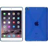 Silikon Hülle iPad Mini 3 2 1 X-Style blau + 2 Schutzfolien
