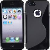 Silikon Hülle iPhone 5 / 5s / SE S-Style Logo schwarz + 2 Schutzfolien