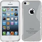 Silikon Hülle iPhone 5c S-Style Logo grau + 2 Schutzfolien