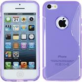 Silikon Hülle iPhone 5c S-Style Logo lila + 2 Schutzfolien