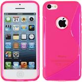 Silicone Case for Apple iPhone 5c S-Style logo hot pink