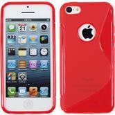 Silikon Hülle iPhone 5c S-Style Logo rot + 2 Schutzfolien