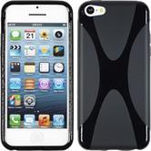 Silikon Hülle iPhone 5c X-Style schwarz + 2 Schutzfolien