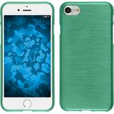 Silicone Case iPhone 8 brushed green + protective foils