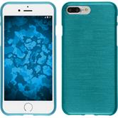 Silicone Case iPhone 8 Plus brushed blue + protective foils
