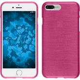 Silicone Case iPhone 8 Plus brushed hot pink + protective foils