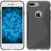 Silicone Case iPhone 8 Plus S-Style gray + protective foils