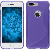 Silicone Case iPhone 8 Plus S-Style purple + protective foils