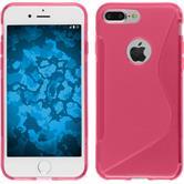 Silikon Hülle iPhone 7 Plus / 8 Plus S-Style pink + 2 Schutzfolien