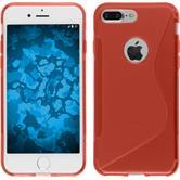 Silikon Hülle iPhone 8 Plus S-Style rot + 2 Schutzfolien