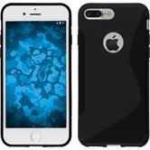 Silikon Hülle iPhone 7 Plus / 8 Plus S-Style schwarz + 2 Schutzfolien