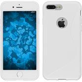 Silikon Hülle iPhone 8 Plus S-Style weiß + 2 Schutzfolien
