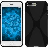 Silikon Hülle iPhone 8 Plus X-Style schwarz + 2 Schutzfolien