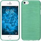 Silikon Hülle iPhone SE brushed grün + 2 Schutzfolien