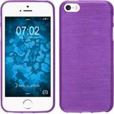 Silikon Hülle iPhone SE brushed lila + 2 Schutzfolien