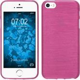 Silikon Hülle iPhone SE brushed pink + 2 Schutzfolien