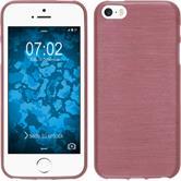 Silikon Hülle iPhone SE brushed rosa + 2 Schutzfolien