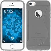 Silikon Hülle iPhone SE S-Style Logo grau + 2 Schutzfolien
