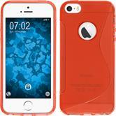 Silikon Hülle iPhone SE S-Style Logo rot + 2 Schutzfolien