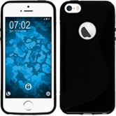 Silikon Hülle iPhone SE S-Style Logo schwarz + 2 Schutzfolien