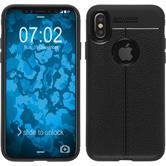 Silikon Hülle iPhone X Lederoptik schwarz Case