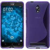 Silikon Hülle Zenfone Go (ZC500TG) S-Style lila + 2 Schutzfolien